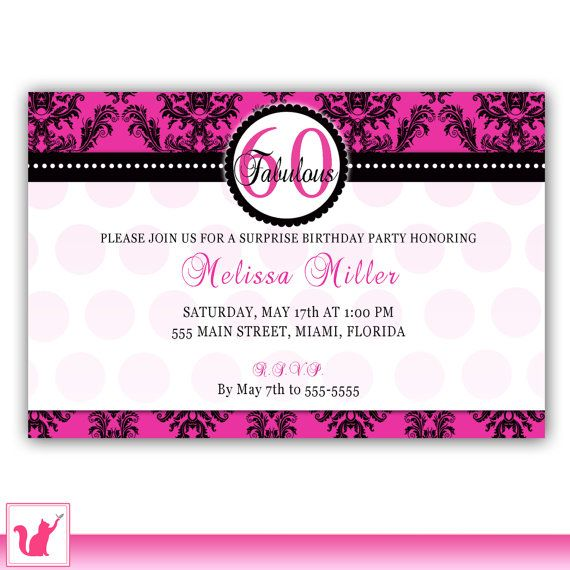 25 best adult birthday invitations images on pinterest birthday damask birthday invitation hot pink vintage 60th 70th adult party invite also anniversary printable personalized filmwisefo