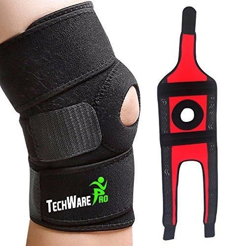TechWare Pro Knee Brace Support - Relieves ACL LCL MCL Meniscus Tear Arthritis Tendonitis Pain. Open Patella Dual Stabilizers Non Slip Comfort Neoprene. Adjustable Bi-Directional Straps - 2 Sizes