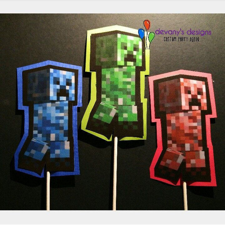 In case you need cake toppers to go with your Minecraft birthday banner.  ... #minecraft #minecraftbirthday #minecraftbirthdayparty #minecraftparty #minecraftcaketopper #videogamebirthday #gamerbirthday #videogameparty