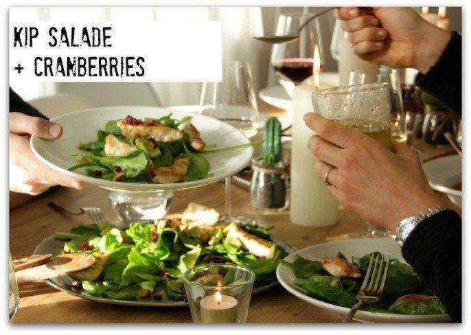 Salade gegrilde kip en cranberries. Met sinaasappeldressing! #salad #salade #grilledchicken