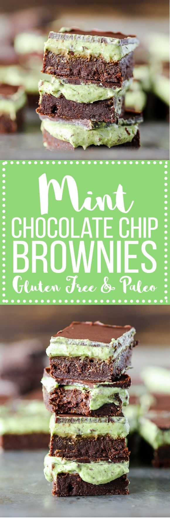 These Mint Chocolate Chip Brownies are ultra rich and fudgy with a mint chocolate chip topping! They are gluten-free, refined sugar-free + Paleo-friendly, and you'll never guess which healthy ingredient is in them!