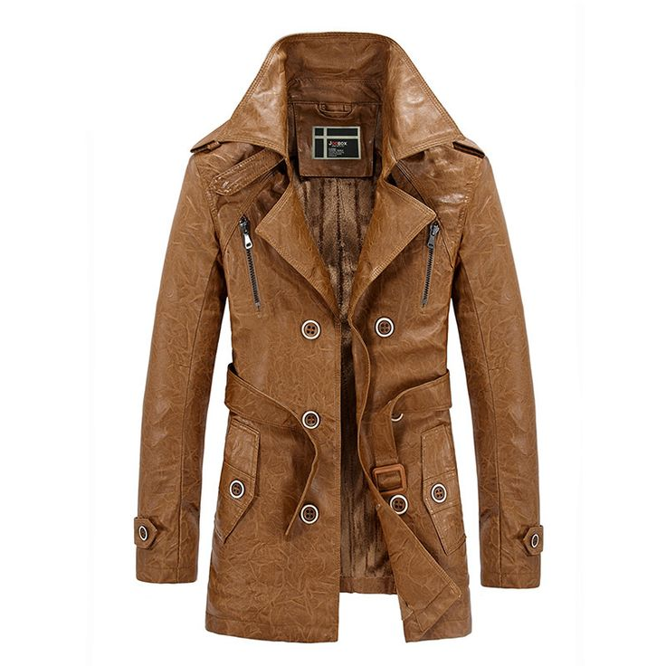 England Stlye Faux Leather Jackets For Men Winter New Arrivals Thicken Fleece Warm Man Biker Overcoats Fitted Long Coats Trench