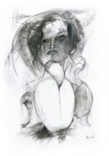 "charcoal 700 x 1000 mm ""Woman Springing"" (original drawing unavailable)"