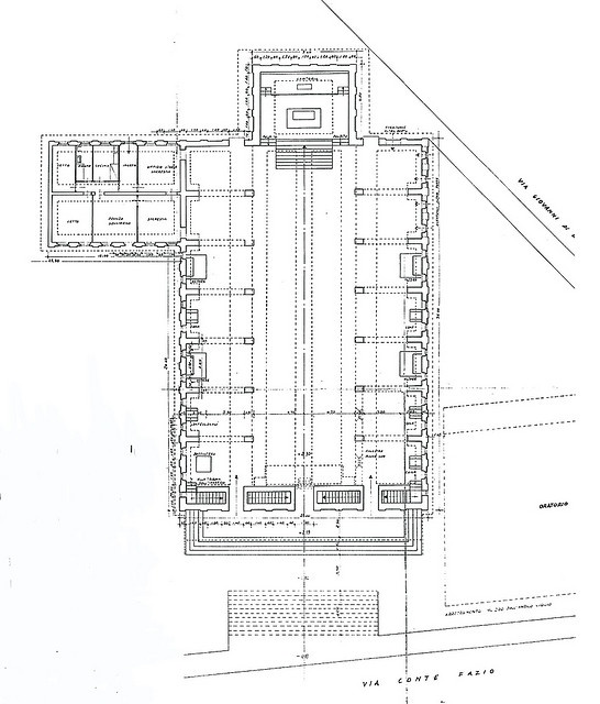 Chiesa San Giovanni al Gatano Pisa, Drawing 1947// by Saverio Muratori