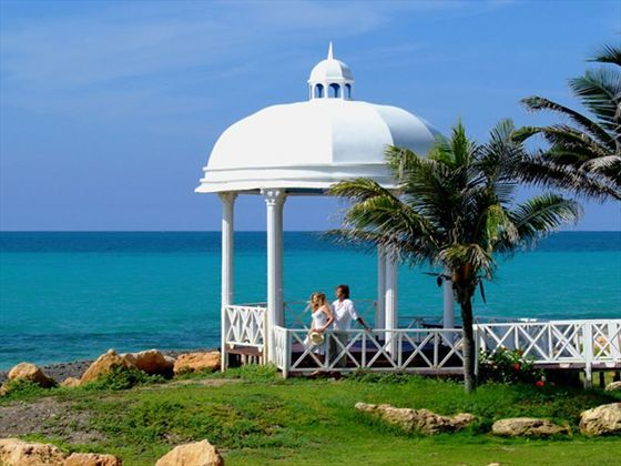 Look out to the beautiful lapping waves whilst in the wedding gazebo at Paradisus Varadero