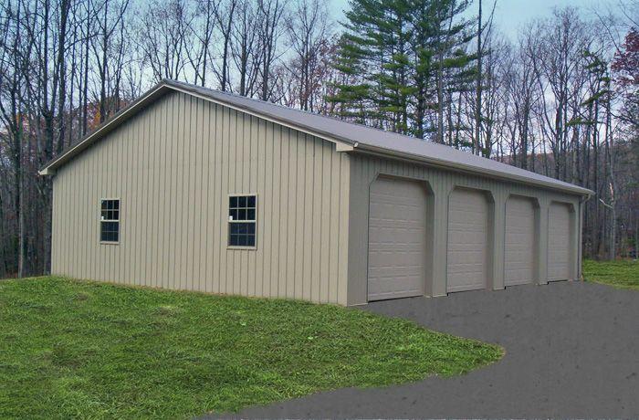 Metal Garage Vertical Lines Ridged Metal Garage