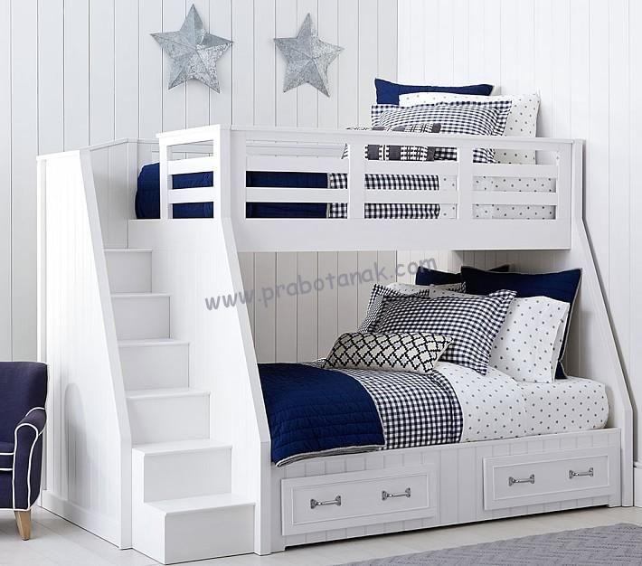 Tempat Tidur Tingkat Belden Putih 2 Laci Material :KayumahonisolidFinishing :Glossy duco putihDimensi :Bed atas : Panjang 200cm x Lebar 90cmBed bawah