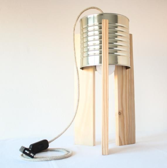 Items Similar To Table Lamp Can Eco Lamp Upcycling Design On Etsy Lamp Wooden Lamp Light Crafts