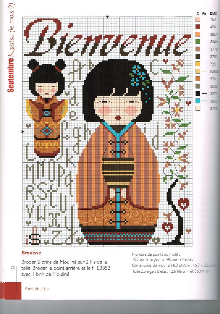 French Kokeshi Cross Stitch Pattern grille bienvenue 2/2