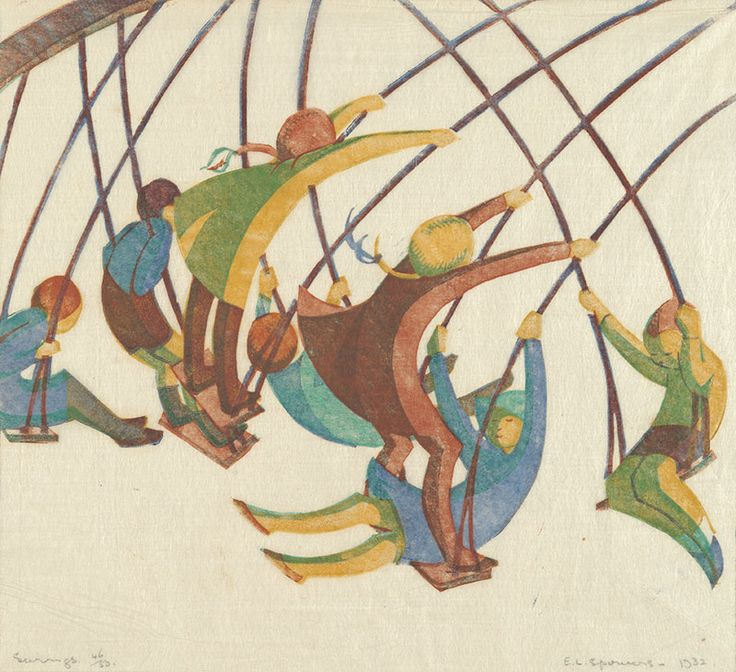 Spowers, Ethel - Swings Linocut (c. 1932) Printed from 4 blocks: yellow ochre; viridian; reddish brown; cobalt blue. This print is evocative of the simple joy of the swing. There is no sentimentality, no intended or instructional moral, only the depicted pleasure of rollicking movement. And the colours are those as influenced by Flight and the Grosvenor School: this is not an 'accurate' colour portrayal... (http://www.bookroomartpress.co.uk/store/product/120)