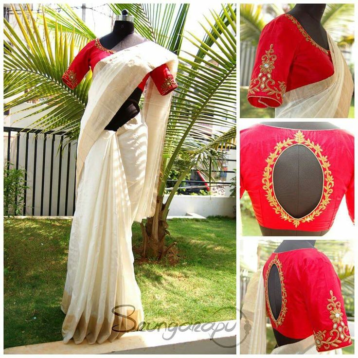 White Saree with embroidered red blouse