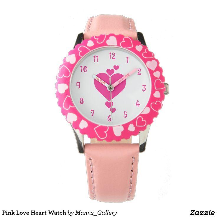 Pink Love Heart Watch