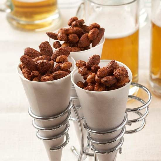 Mixed Nuts with a Punch.  Pour the salty and sweet snack into paper cones for mess- free single servings that look better than a snack bowl.  Great super bowl party idea.