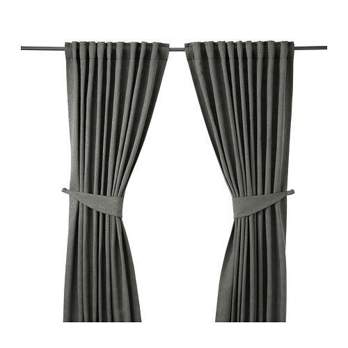 IKEA - BLEKVIVA, Curtains with tie-backs, 1 pair, , The densely woven curtains darken the room and provide privacy by preventing people outside from seeing into the room.Jacquard weave gives the curtain a pattern with a subtle, slightly raised relief.The curtains can be used on a curtain rod or a curtain track.The heading tape makes it easy for you to create pleats using RIKTIG curtain hooks.You can hang the curtains on a curtain rod through the hidden tabs or with rings and hooks.