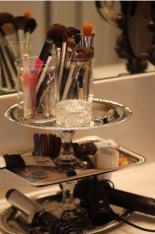 Easy to make: silver trays, glass candlesticks and heavy duty glue!