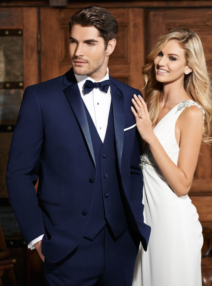 Navy 2 Button Tuxedo Sebastian Slim Fit Super 120's Notch Lapel by Ike Behar @ Bunny Tuxedos