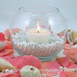 Loose Pearls Vase Filler - Add these 8mm pearls to vases or votive cups for an instant filler.  Each pearl has a hole in it and can be used as a bead in other projects. - wedding supplies - event decorations - party supplies    http://www.yourweddingcompany.com