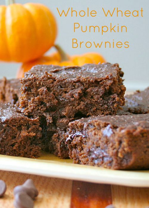 Whole Wheat Pumpkin Brownies....I made these vegan with ENER-G Egg Replacer and vegan chocolate chips.  Very moist, and they were pretty good.