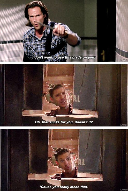 "Sam: ""I don't want to use this blade on you"" Dean: ""On, that sucks for you, doesn't it. 'Cause you really mean that."""