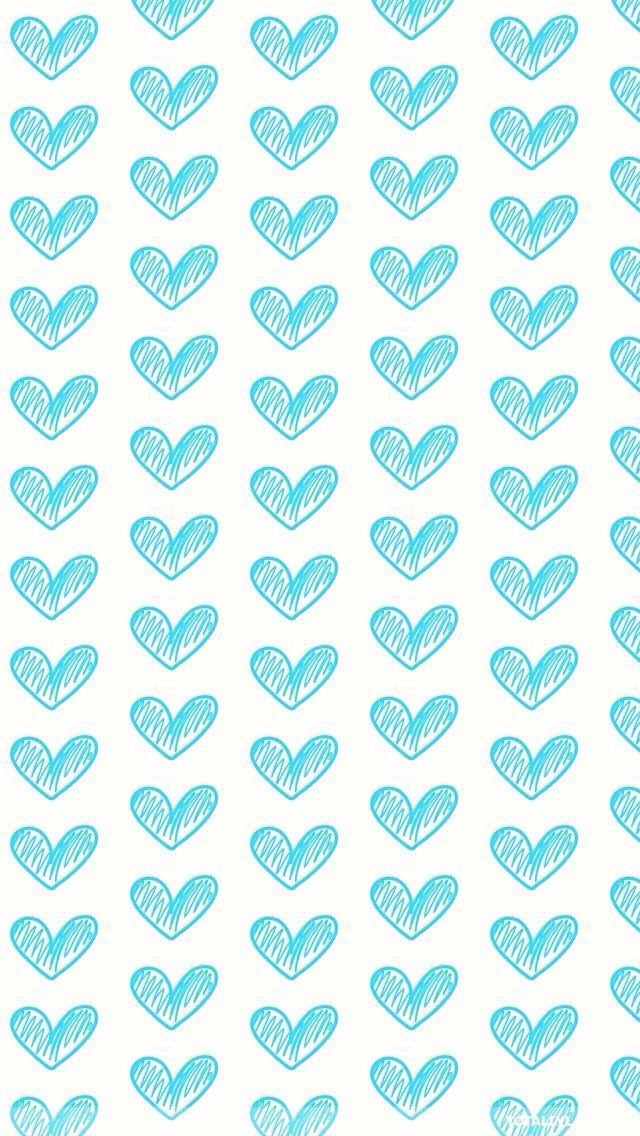 Turquoise aqua sketch mini hearts iphone wallpaper background phone lockscreen