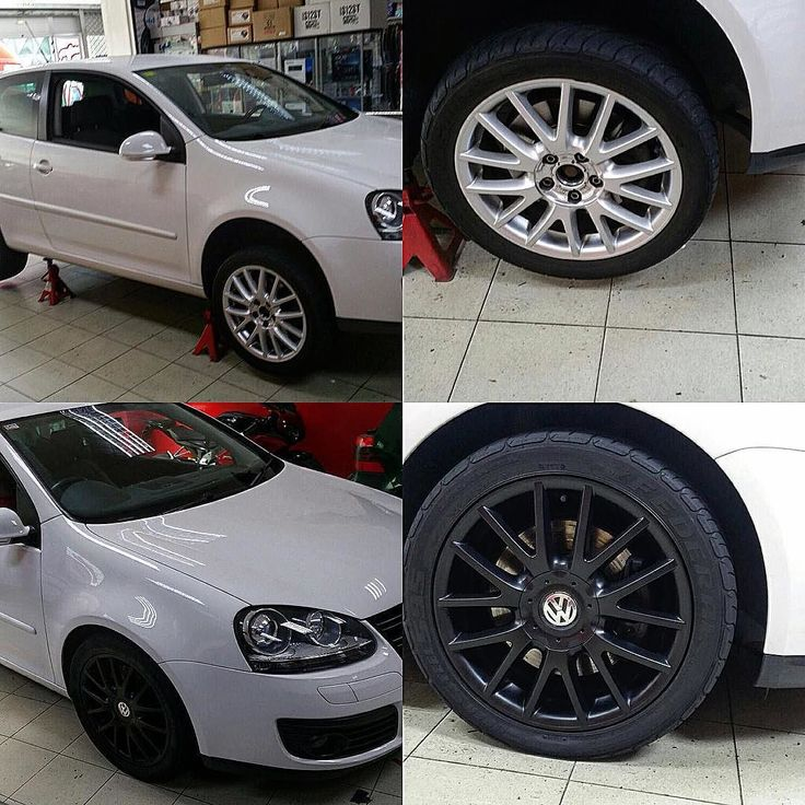 Del clásico gris de serie a negro deportivo con #viniloliquido para este #volkswagen #golf. #vw #vwgolf #vwgolfgti #vwclub #roadtrip #vinilo #plastidip #car#cars #auto #automovil #carro #tuning #racing #tuningcar #tuningcars #laspalmas #wheel #wheels #love #loveit #llantas #detailing #detail #diy www.101racing.es
