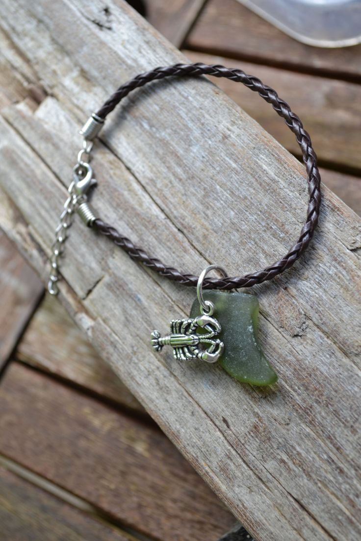 Genuine Irish Dark Green Seaglass with lobster charm Bracelet by MajackalCreations on Etsy