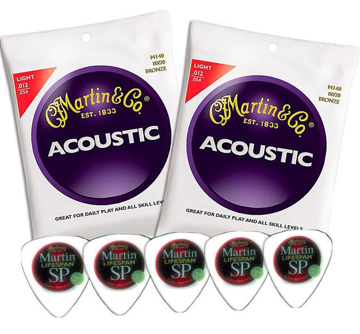 Twin Pack Martin Guitar Strings - Acoustic Light M140 + 5 FREE Martin Lifespan Guitar Picks! #Martin #Guitar #Music