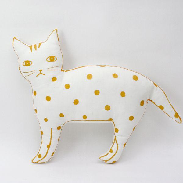 gold dot cat pillow