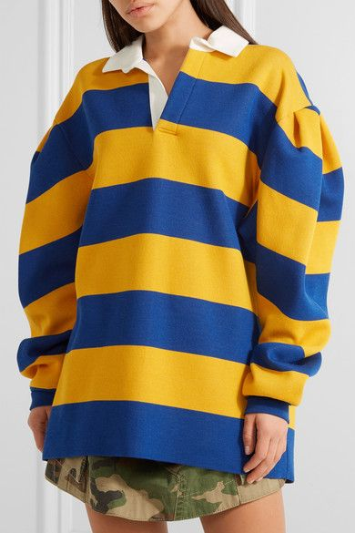 Marc Jacobs - Oversized Pleated Striped Jersey Shirt - Blue - small