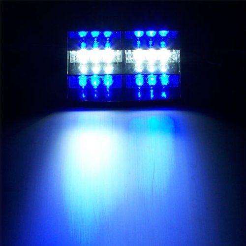 18 LED stroboscope Dash Police Gyrophare Bleu Blanc: Tweet 3 modes de clignotant Super brillant Longue durée 3 ventouses pour écran rapide…