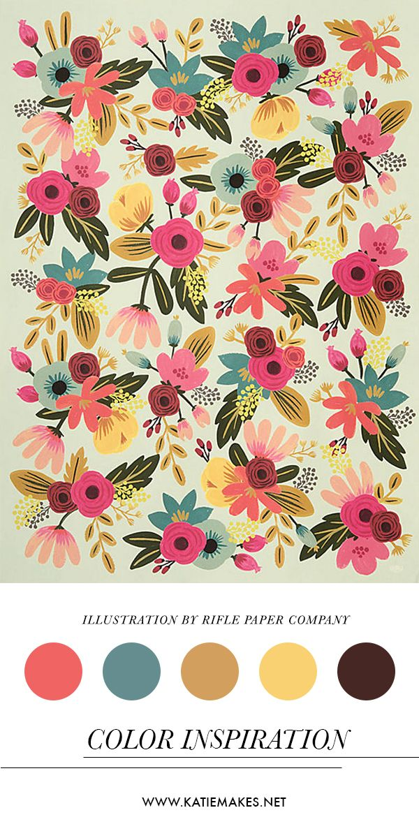 Color Inspiration - Illustration by Rifle Paper Company. Wrapping paper available at Paper Source.