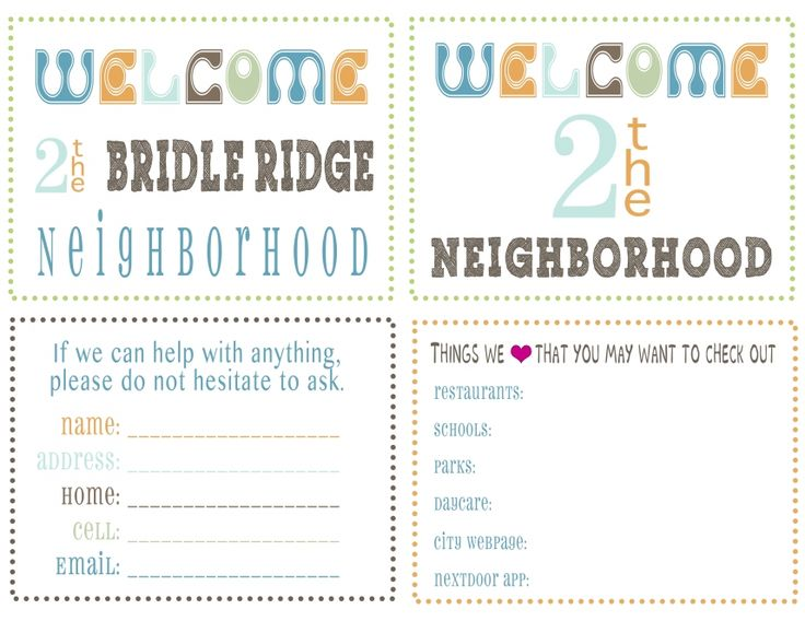 new neighbors Save and Print for personal use only