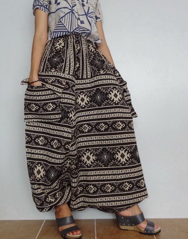 Drop Crotch Harem Pant,Unisex Plus Size Trouser, Tribal Cotton Woven fabric (pants-W7). by Brightfashion on Etsy