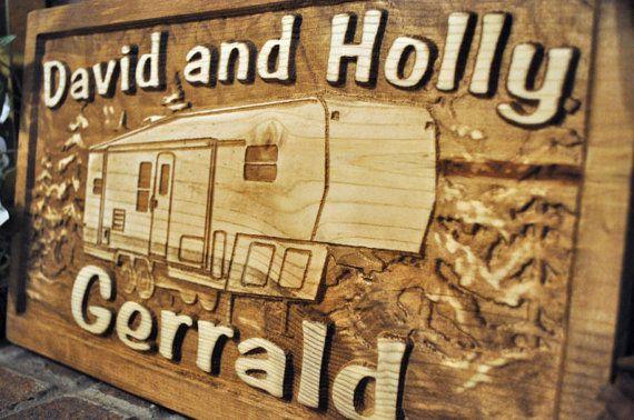 5th wheel Camp Camper RV Motorhome Carved Wood Sign ...