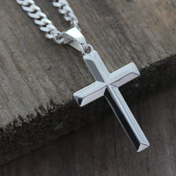 Sterling silver cross necklace Elegant unisex by LifeOfSilver