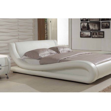 Dona Contemporary Faux Leather Platform Bed, White, Eastern King