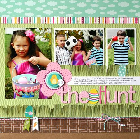 Layout: The Hunt by Nancy Damiano featuring Bella Blvd Spring Flings & Easter Things Collection
