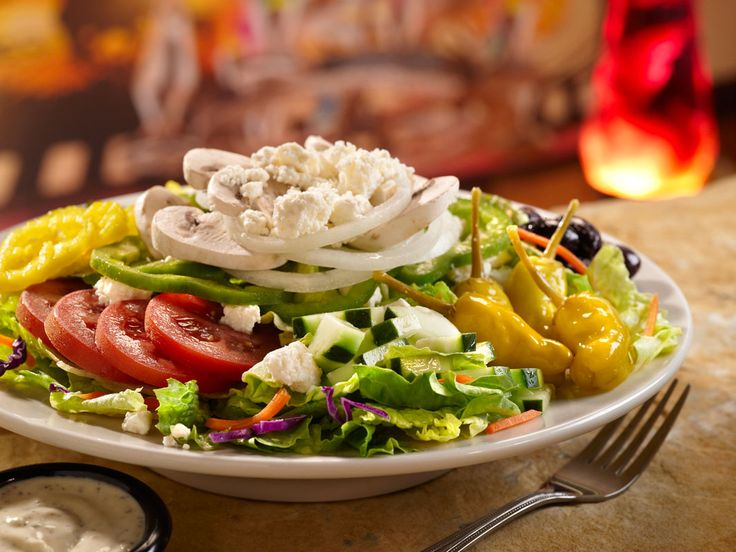 Diner Salad (Shredded Romaine with Shredded Carrots and Red Cabbage, Pepperoncini, Chopped Cucumber, Sliced Plum Tomatoes, Black Olives, Sliced Green Bell Peppers, Sliced Red or Yellow Onion, Feta Cheese, Greek Dressing (Red Wine Vinegar, Lemon, Oregano, Olive Oil, Salt and Pepper))