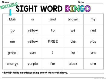 SIGHT WORD BINGO {EDITABLE}