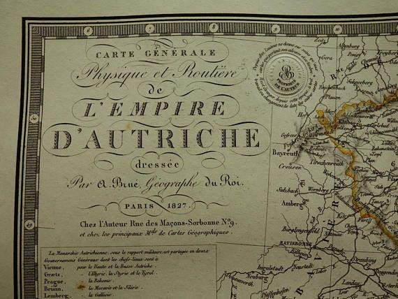 AUSTRIA HUNGARY map 1827 LARGE original old antique print of