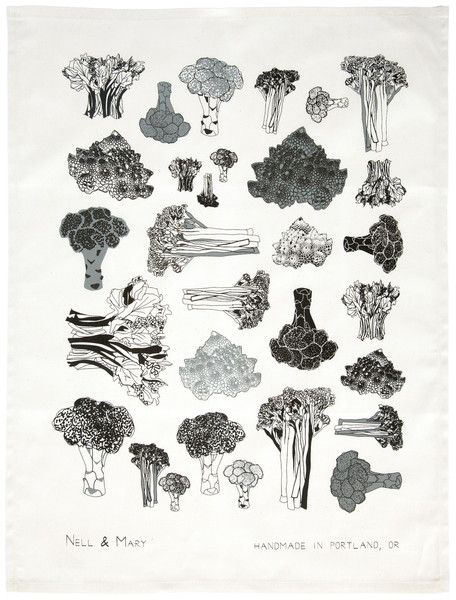 Broccoli Tea Towel - Gray