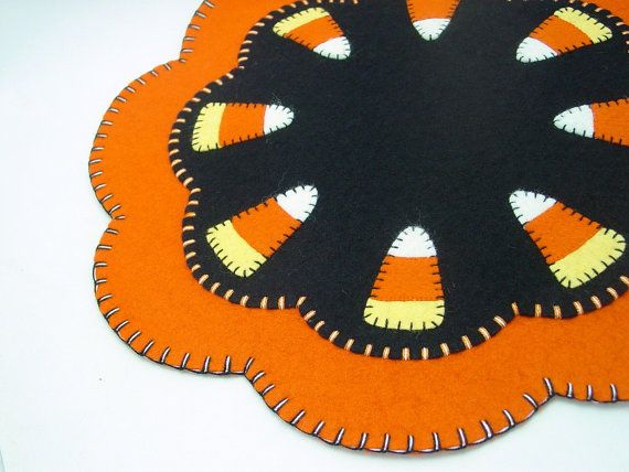 """Halloween Candy Corn Design Penny Rug Table, Candle or Tree Mat - 15"""""""