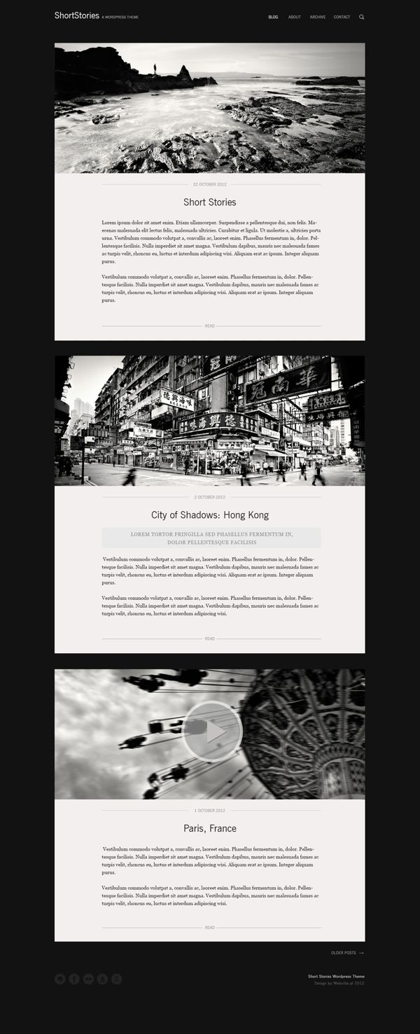 ShortStories Wordpress Theme by Webvilla , via Behance