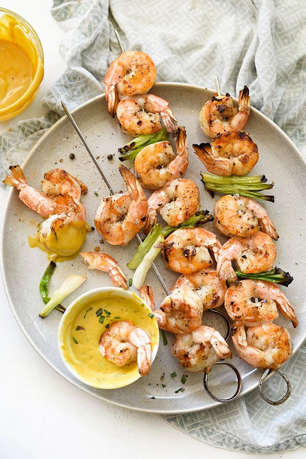 Grilled Shrimp with Sweet or Spicy Mustard Dipping Sauce / foodiecrush.com