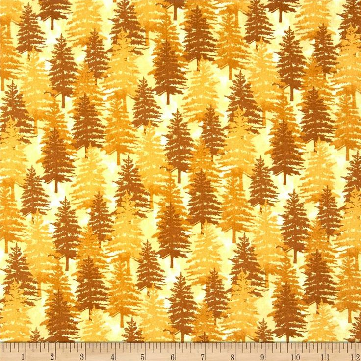 Wilmington Prints Peace on Earth Gold Stacked Trees Cotton Fabric by the Yard