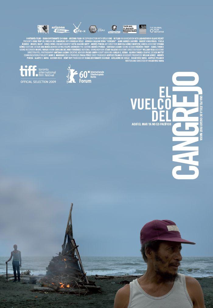 Afiche para la película El Vuelco del Cangrejo, un diseño Mottif, en asocio con Laboratorios Black Velvet