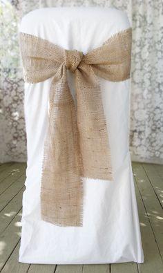 Burlap Wedding Dress Sash, Burlap Wedding Chairs, Burlap And Black Wedding, Rustic Chair Covers Wedding, Wedding Chair Sashes, Runners Wedding, Wedding Bows ...                                                                                                                                                                                 More