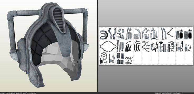 Papercraft .pdo file template for Doktor Who - Cyberslave Helmet.
