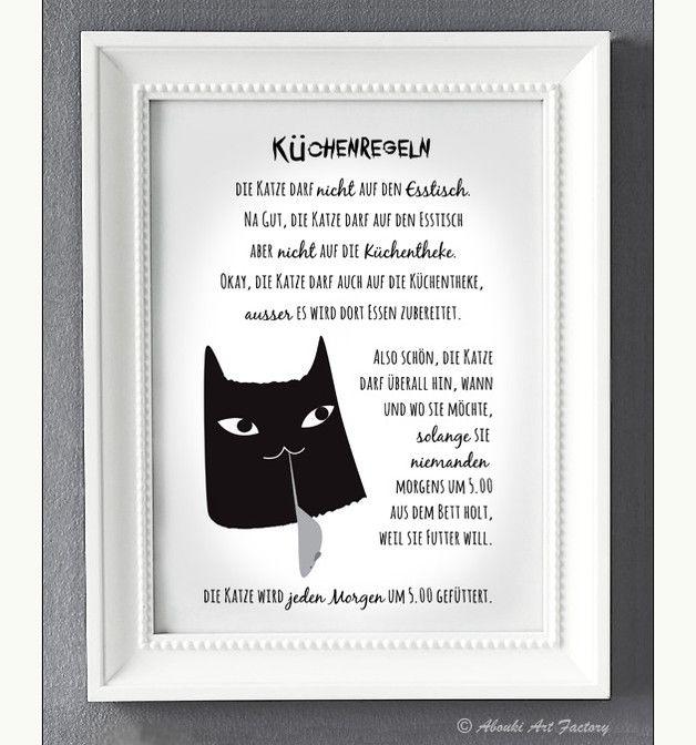 """Lustiger Kunstdruck im **DIN A4 Format** mit Katzenmotiv und  """"Katzenregeln / K…"""