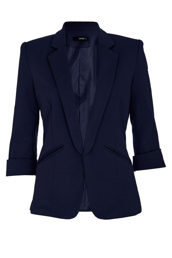 Quiz Navy 3/4 Sleeve Suit Jacket on shopstyle.co.uk